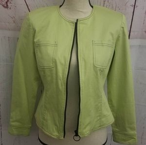 Maggie London Women Green Front Zip Jacket Size 8